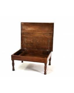 Týkový stolek s odlápěcí deskou a úložným prostorem, 76x91x42cm