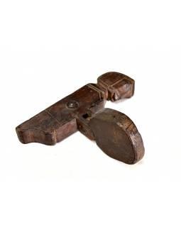 Antik dřevěný svícen z teaku, ručně vyřezávaný, 12x27x30cm
