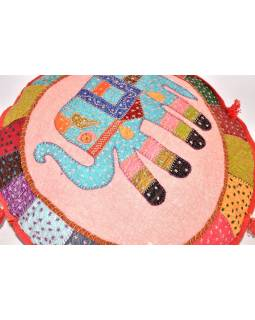 Kulatý meditační polštář se slonem, ručně vyšívaný, 65x10cm