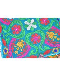 Meditační polštář, ručně vyšívaný Kashmir Floral Design, 43x43x12cm