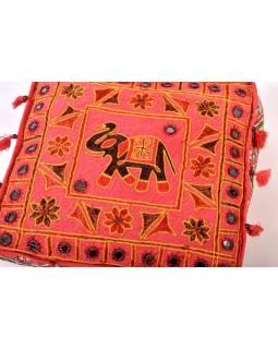 """Červený meditační polštář, """"Šťastný slon"""", ručně vyšívaný, čtvercový, 42x42x12"""