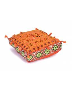 "Oranžový meditační polštář, ""Šťastný slon"", ručně vyšívaný, čtvercový, 42x42x12"