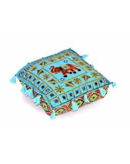 """Modrý meditační polštář, """"Šťastný slon"""", ručně vyšívaný, čtvercový, 42x42x12"""