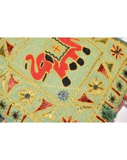 """Zelený meditační polštář, """"Šťastný slon"""", ručně vyšívaný, čtvercový, 42x42x12"""