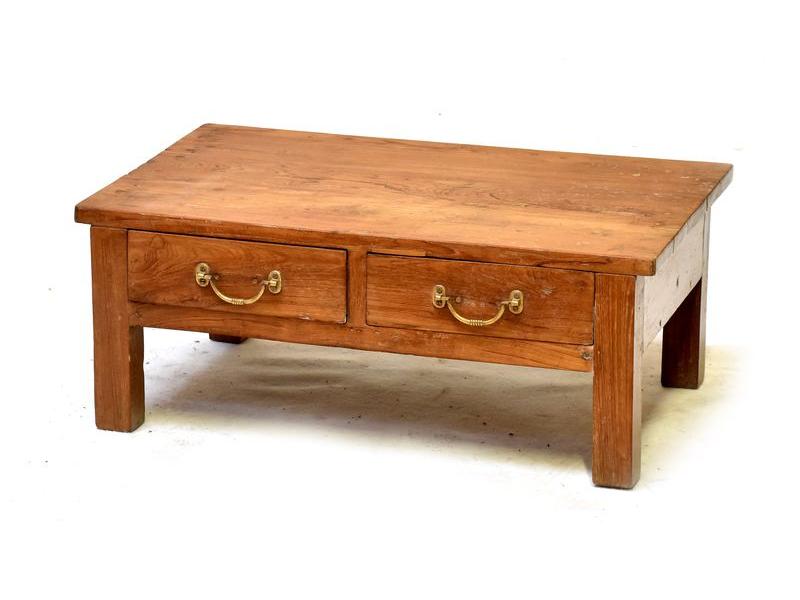 Stoleček z antik teakového dřeva s dvěma šuplíky, 77x50x30cm