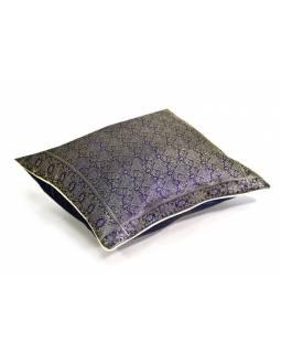 Fialový povlak saténový na polštář se zlatou výšivkou, zip, 40x40cm