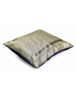 Šedý saténový povlak na polštář s výšivkou, zip, 40x40cm