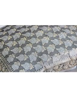 Šedý saténový povlak na polštář se stříbrnou a zlatou výšivkou, zip, 40x40cm