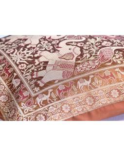 Pískový saténový povlak na polštář s výšivkou, sloni, zip, 40x40cm