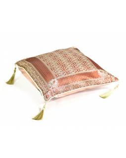 Skořicový saténový povlak na polštář s výšivkou a třásněmi, zip, 40x40cm
