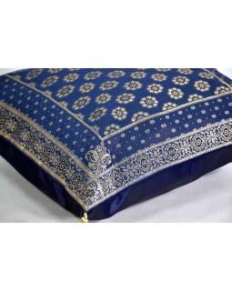 Modrý saténový povlak na polštář s výšivkou a třásněmi, zip, 40x40cm