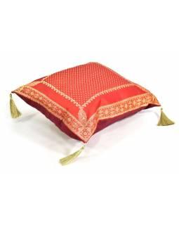 Červený saténový povlak na polštář s výšivkou a třásněmi, zip, 40x40cm