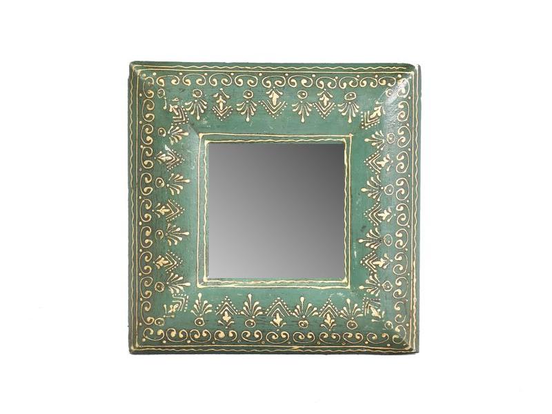 Malé zrcadlo v rámu z recyklovaného teakového dřeva, 20x20x2 cm