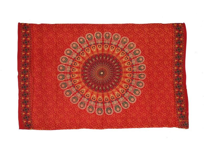 Červený sárong s ručním tiskem, floral design, 110x170cm