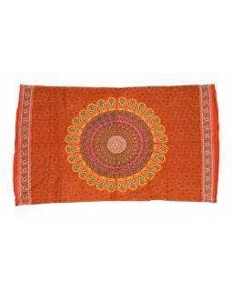 Oranžový sárong s ručním tiskem, floral design, 110x170cm
