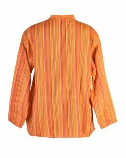 Pruhovaná pánská košile-kurta s dlouhým rukávem a kapsičkou, žlutá
