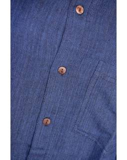Tmavě modrá pánská košile s dlouhým rukávem a kapsičkou