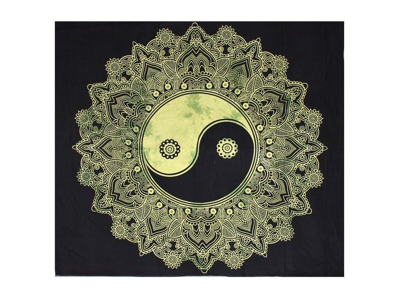 """Černo-zelený přehoz """"Jin jang"""", 225x200cm"""