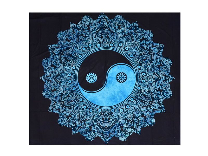 "Černo-modrý přehoz ""Jin jang"", 225x200cm"
