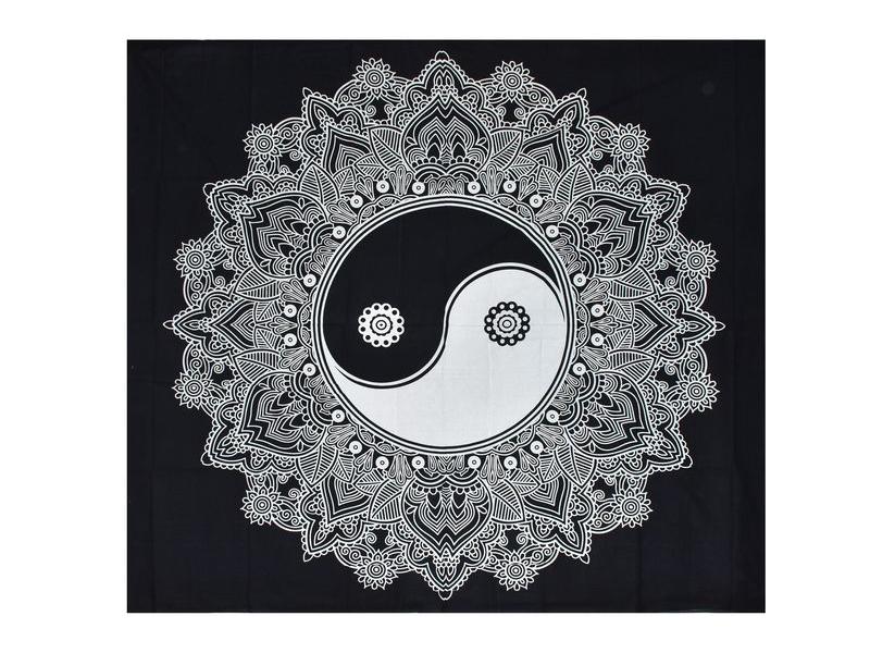 """Černo-bílý přehoz """"Jin jang"""", 225x200cm"""