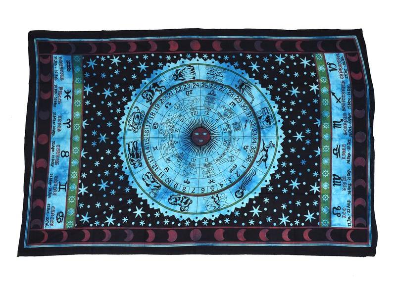 """Přehoz, """"Zvěrokruh"""", fialový, modrý, černý potisk, 135x210cm"""