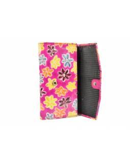 """Peněženka, design """"Small Flower"""", malovaná kůže, růžová, 10x20cm"""