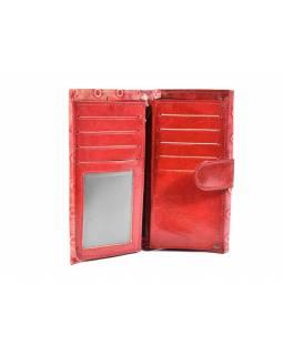 """Peněženka, design """"dots"""", malovaná kůže,červená, 10x20cm"""