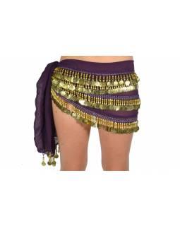 Šátek s penízky na břišní tance, fialová se zlatem