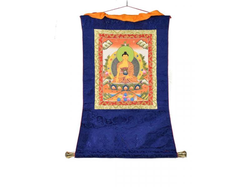 Tanka, Buddha Shakiamuni, modrý brokát, 55x85cm