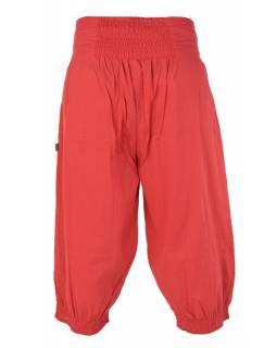 Červené lehké tříčtvrteční kalhoty s kapsami a elastickým pasem