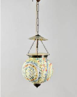 Skleněná mozaiková lampa, multibarevná, ruční práce, průměr 25cm, výška 25cm