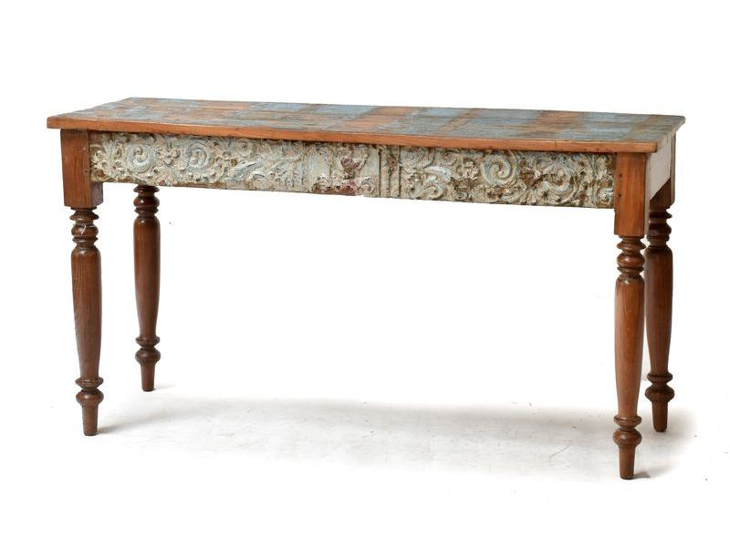 Starý konzolový stolek zdobený ruční řezbou, 133x48x74cm