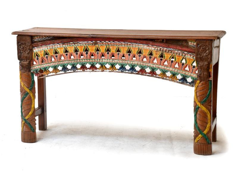Starý konzolový stolek zdobený ruční řezbou, 140x40x77cm