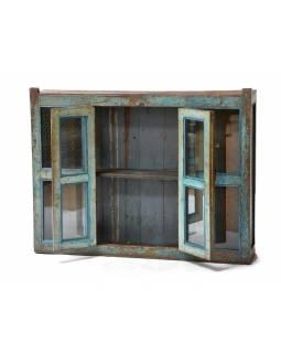 Prosklená skříň z antik teakového dřeva, 120x24x93cm