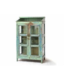 Prosklená skříň z antik teakového dřeva, 83x46x140cm