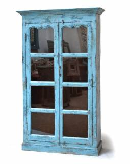 Prosklená skříň z antik teakového dřeva, 102x37x169cm