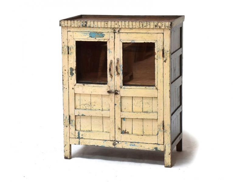 Prosklená skříňka z antik teakového dřeva, 77x43x97cm