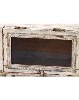 Prosklená skříňka z antik teakového dřeva, 38x31x37cm