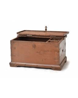Stará dřevěná truhla z teakového dřeva, 70x48x38cm