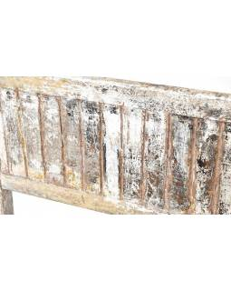 Stará teaková lavice, bílý patina, 100x40x91cm