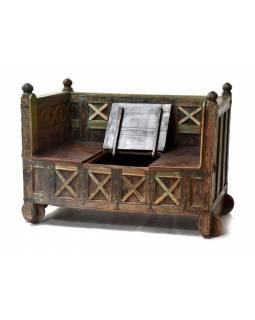 Lavice s úložným prostorem, antik teak, 135x71x101cm