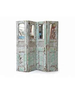 Staré kupecké dveře předělané na paravan se zrcadly, 180x185x3cm