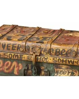 Plechový kufr, antik, malovaný, 57x33x19cm