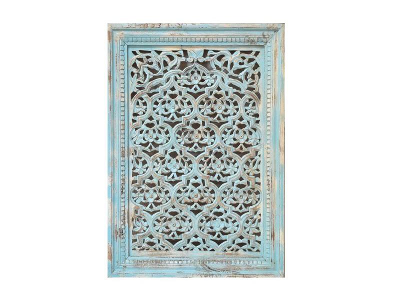 Dřevěný dekorativní panel na stěnu ručně vyřezaný z mangového dřeva 76x107x7cm