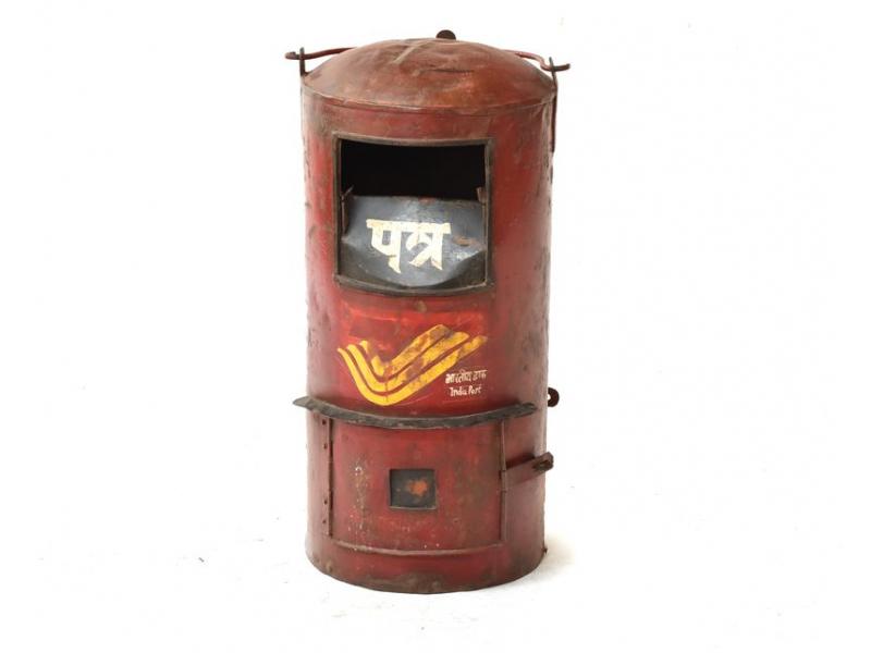 Poštovní schránka Indické pošty, ručně malovaná, 34x34x63cm
