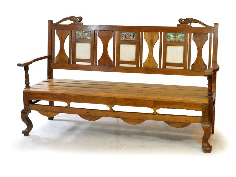 Lavice z antik teakového dřeva, zdobená keramickými dlaždicemi, 160x55x96cm