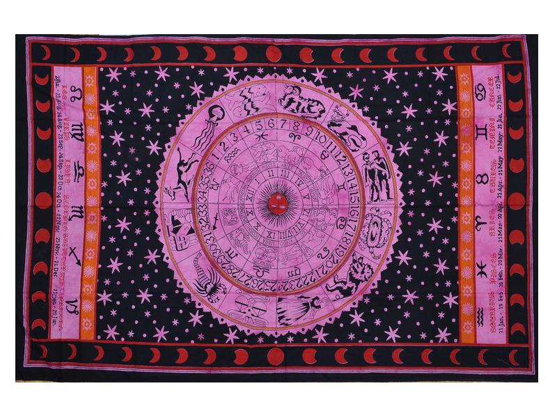 """Přehoz, """"Zodiac"""" růžový, batika, single,135x210cm"""