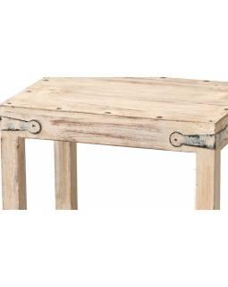 Dřevěná stolička z teakového dřeva, bílá patina, 37x27x39cm