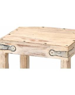 Dřevěná stolička z teakového dřeva, bílá patina, 30x24x32cm