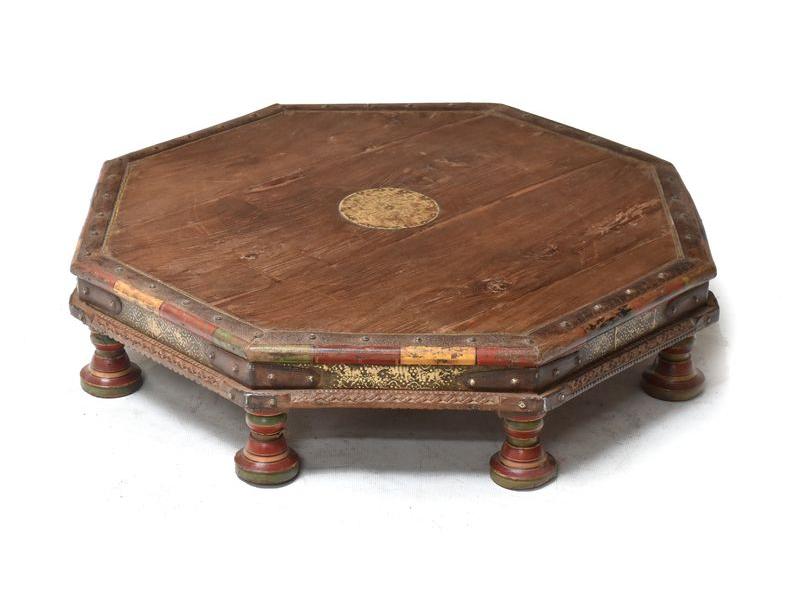 Starý osmiboký stolek z teakového dřeva, 72x72x15cm